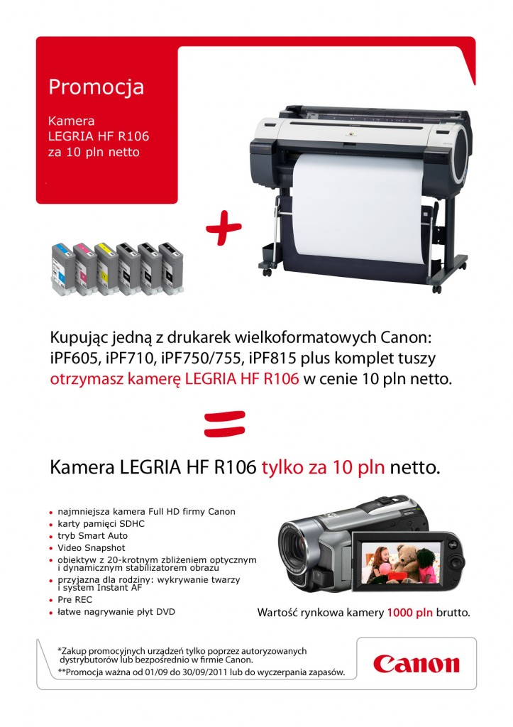 Promocja kamera Canon LEGRIA HF R106